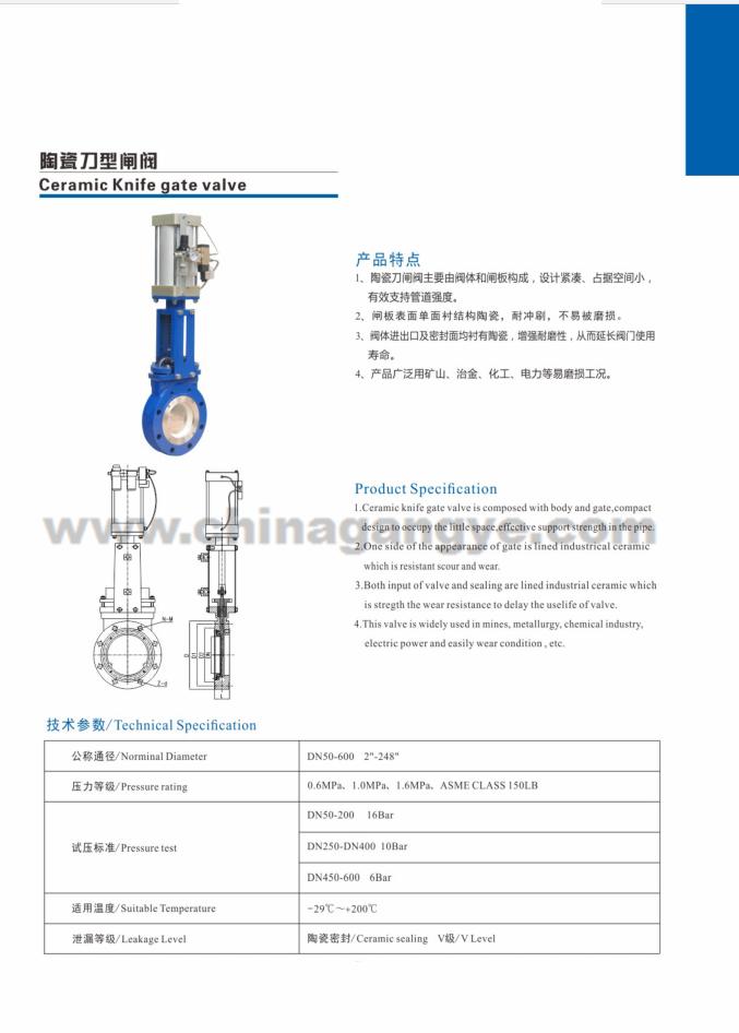 Ceramic Knife gate valve
